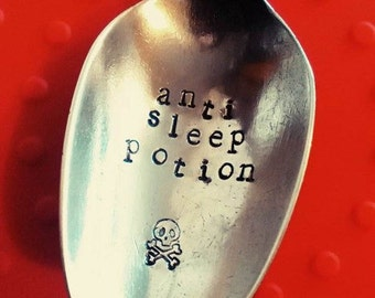 Anti Sleep Potion Spoon - Hand Stamped Spoon - Funny - Coffee - Cutlery - Flatware - Men's Gift - Skull and Crossbones - Cutlery - Flatware