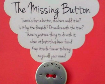 Santa's Lost Button - Hand Stamped Button - Children's Christmas Gift - Stocking Stuffer