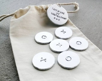 Little Bag Of Hugs & Kisses- Hand Stamped Tokens - Letterbox Gift - Personalisation Available - Free UK Postage