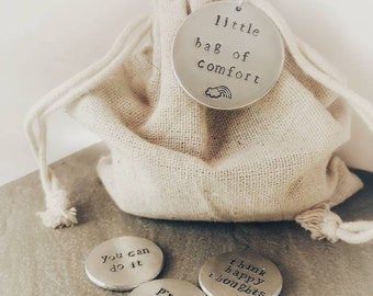 Little Bag Of Tokens - Hand Stamped Tokens - Mindfulness Gift - Personalisation Available - Free UK Postage