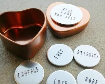 Take What You Need Token Tins - Mindfulness Tokens - Keepsake Gift - Personalisation Available - Free UK Postage