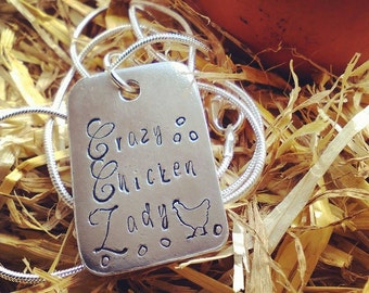 Crazy Chicken Lady Pewter Pendant Necklace - Hand Stamped Necklace - Gift for Her - Chicken Lover - Jewellery - Personalised - Chicken Mummy