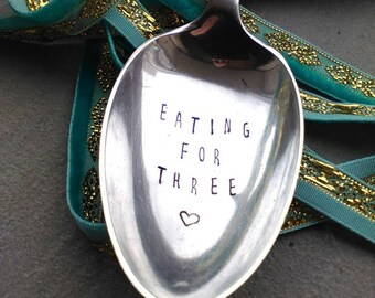 Eating For Two Spoon - Hand Stamped Spoon - Pregnancy Gift - Cutlery - Flatware  - Woman's Gift - Baby Shower - Triplets - Mum To Be Gift
