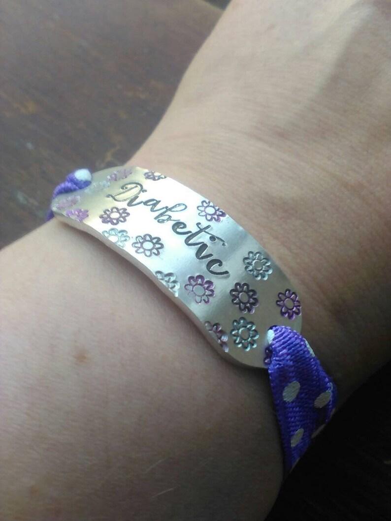 Emergency Bracelet  Hand Stamped Aluminium Bracelet  image 0