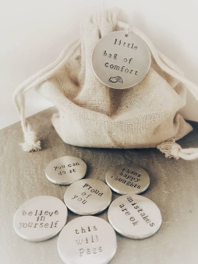 Little Bag Of Tokens  Hand Stamped Tokens  Mindfulness Gift image 0
