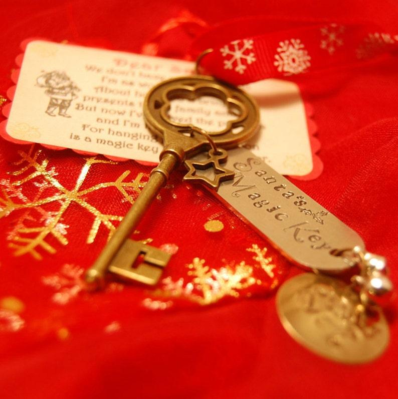 Santa's Key  Hand Stamped Magical Key  Children's image 0