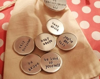Little Bag Of Encouragement - Hand Stamped Tokens - Mindfulness Gift - Personalisation Available - Free UK Postage