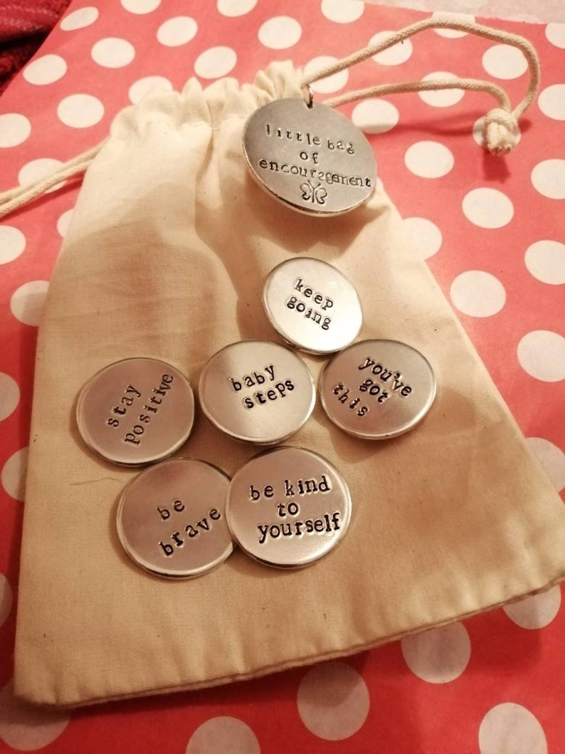 Little Bag Of Encouragement  Hand Stamped Tokens  image 0