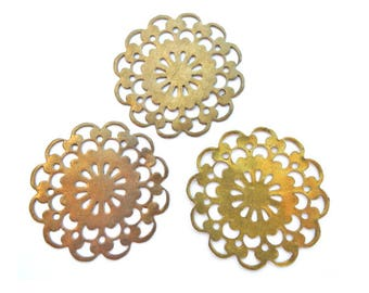 6 Vintage filigree flower shape 21mm