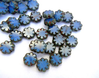 15 Flowers glass beads unusual color and design CZECH 9mm