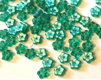 35 Glass flowers beads, blue green, Czech, 5mm, NEW