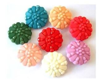 7 Vintage flowers buttons  7 colors plastic, 25mm, button jewel