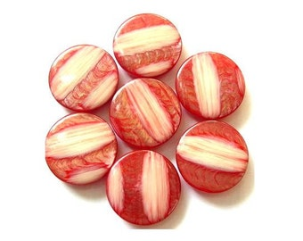 6 Vintage buttons unique red shades -choose size
