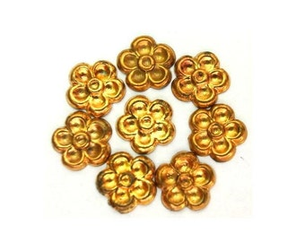 15 vintage metal flowers 8mm