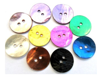 54 Shell buttons in 9 colors 13mm