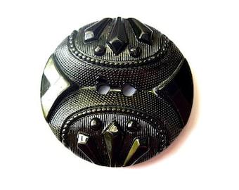 SALE-6 Vintage plastic button black etched unique design xl 38mm