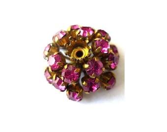 Antique vintage SWAROVSKI BEAD flower shape, metal flower with fuschia pink crystals- RARE