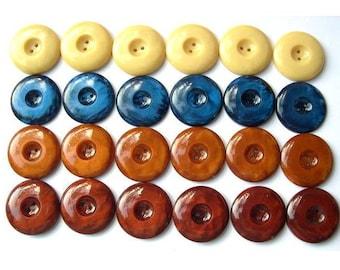 24 Vintage buttons, 4 colors, plastic buttons, 20mm