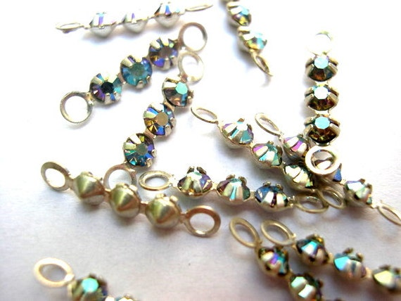 6 Vintage Swarovski crystal connector beads 3 rhinestones in  7ca42fd58c4e
