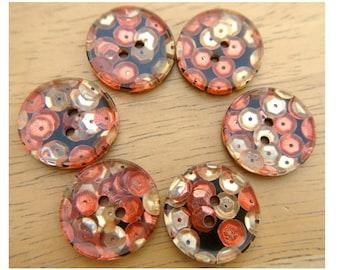 6 Vintage buttons with sequins in gold color, cooper color and orange color 23mm