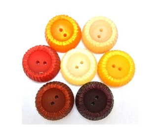 42 Vintage buttons, 7 colors, 22mm, suitable for button jewelry, sewing, crafts, clothing, scrapbooking