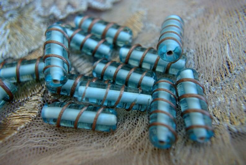 6 BEADS Vintage Czech handmade glass beads high quality rare beads 20mmx8mm
