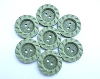6 Vintage buttons unique green plastic
