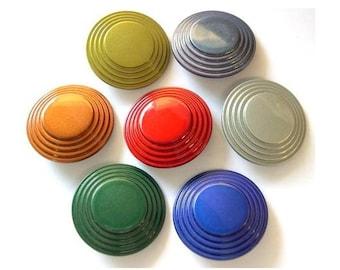 28 Buttons, vintage plastic buttons, 7 colors, circles pattern