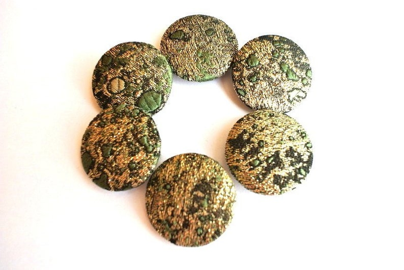 6 Fabric covered buttons handmade buttons cotton 32mm3.2cm green with gold color retro style blue shades retro style fabric