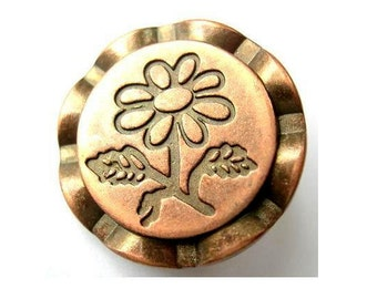 6 Metal buttons with flowers picture copper color 25mm