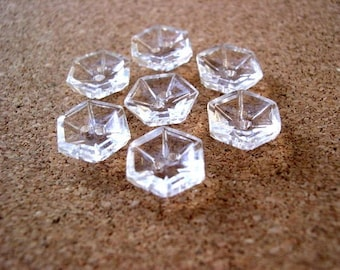 6 Glass buttons, antique vintage hexagon shape with pattern, crystal clear glass, 12mm