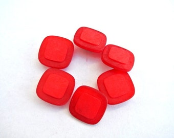 10 Vintage plastic buttons square shape 2 red shades 15mm