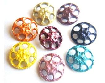 8 Vintage flower buttons 8 colors plastic buttons jewel lace pattern 25mm
