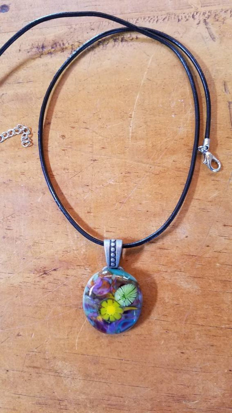 Lovely colorful flower glass pendant with leather cord necklace