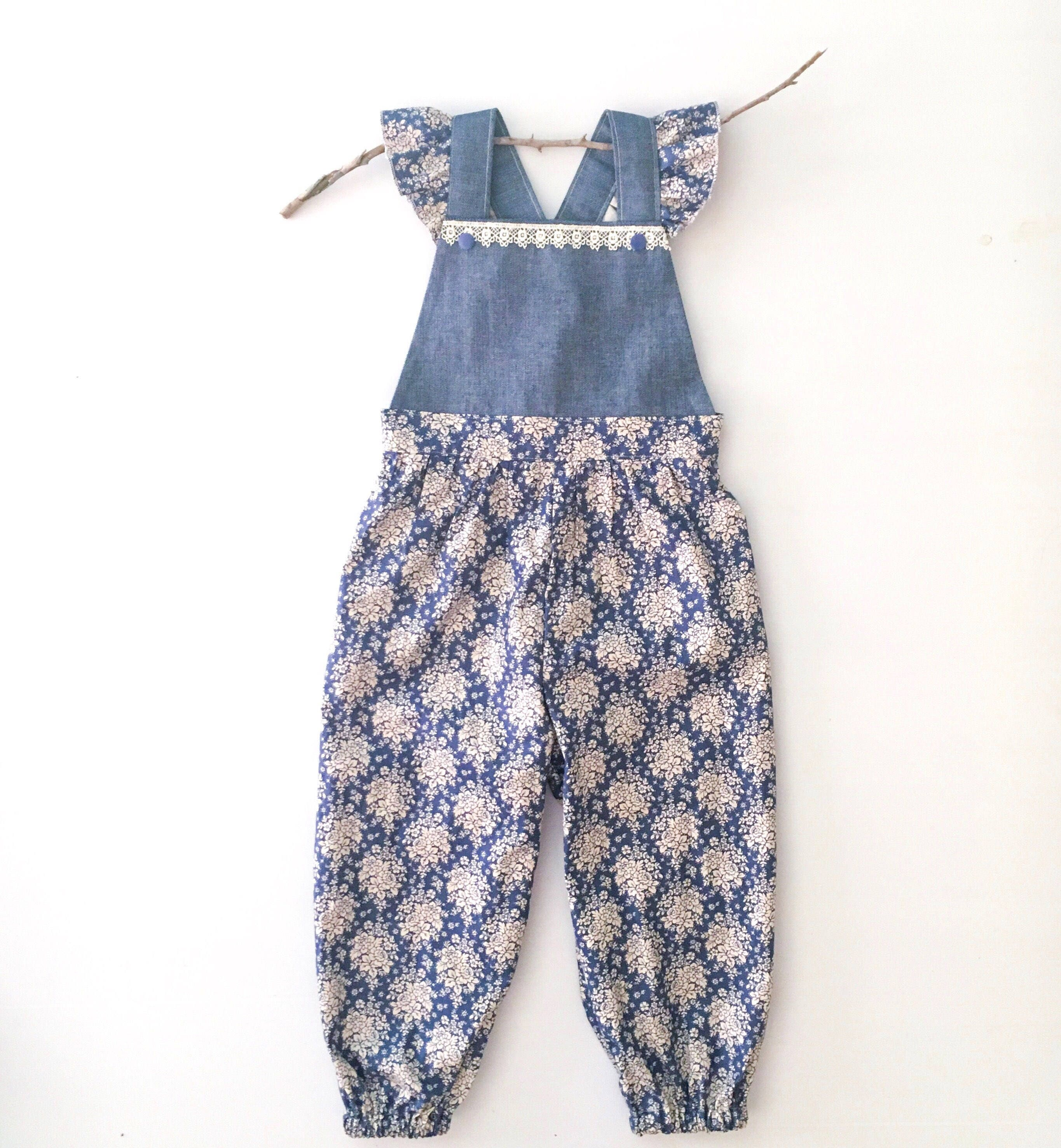 ce1378c51 Vintage Style Blue and Cream Floral Overalls with denim and