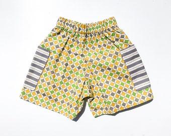 Geometric Green, Mustard and Grey Shorts Sz 1
