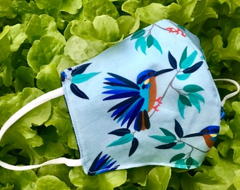 Kingfisher print face cover / face mask