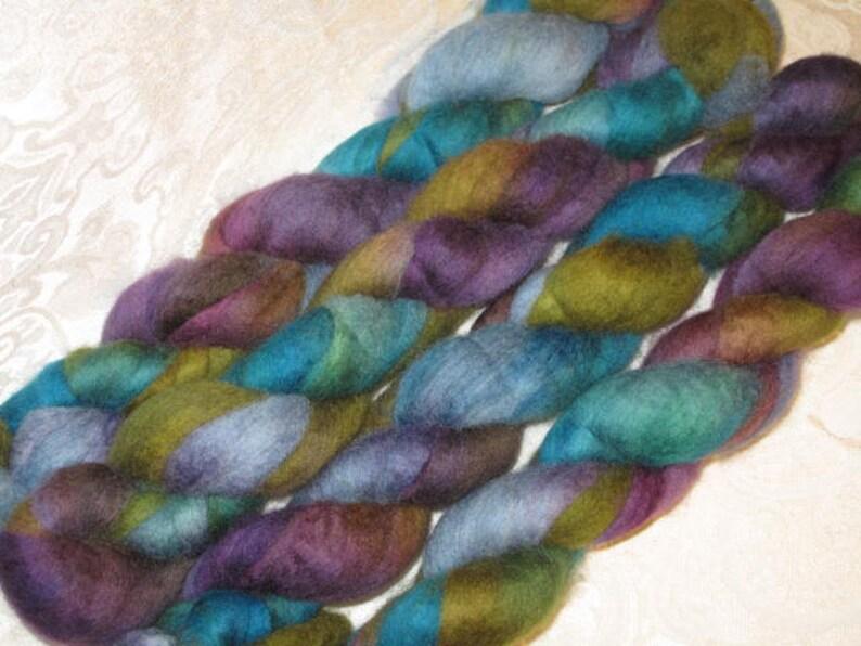 Handpainted Rovings Blueface Leicester Wool