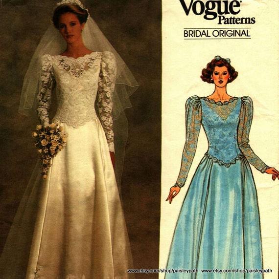 Mode Nähen Muster Brautkleid 1985 jahrgang klein Vogue 1519 | Etsy