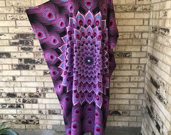 Plus Size Rayon Peacock Design Caftan