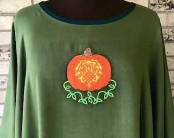 Celtic Autumn Harvest Pumpkin Tunic Embroidered Plus Size
