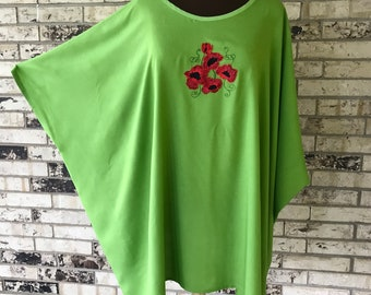 Plus Size Tunic Embroidered with Poppies