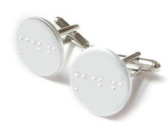 Braille Jewelry Unique Gift for Grooms Custom Jewelry Personalized for Him Custom Braille Cuff links Groom Gift Wedding Cufflinks