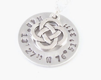 Celtic Pagan Longitude Latitude Washer Necklace, Personalized Hand Stamped Necklace, gift for birthday wedding brass or sterling silver