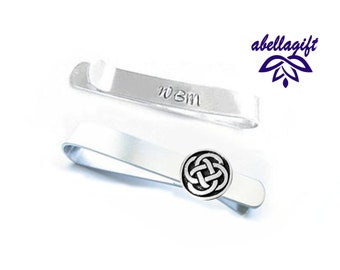 83144113090d Celtic Pagan Knot Tie Clip, Tie Clasp, Wedding gift, Hand Stamped Tie Bar