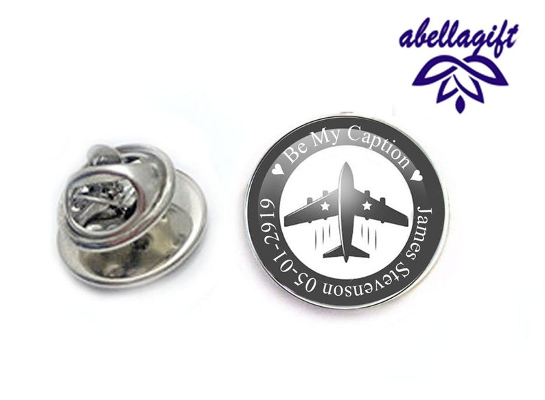 Money Clip Captain Airplane Cufflinks Tie Tack personalized gift for men Custom Text Tie Clip Pilot accessories