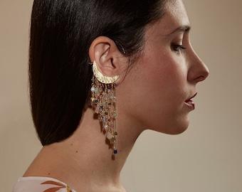 Statement crescent moon cuff earring, SINGLE earring, moon cascade earring, rainbow earring, Milky Way