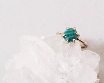 Green amazonite ring, gold brass and green gemstone ring, minimal simple gemstone ring, boho chic