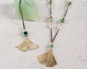 Ginkgo biloba necklace, brass leaf, green and rose beads, strength resistance amulet, leaf necklace