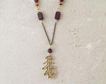 Oak leaf necklace, dark red garnet gemstones, Leaf-Life collection, strength jewelry
